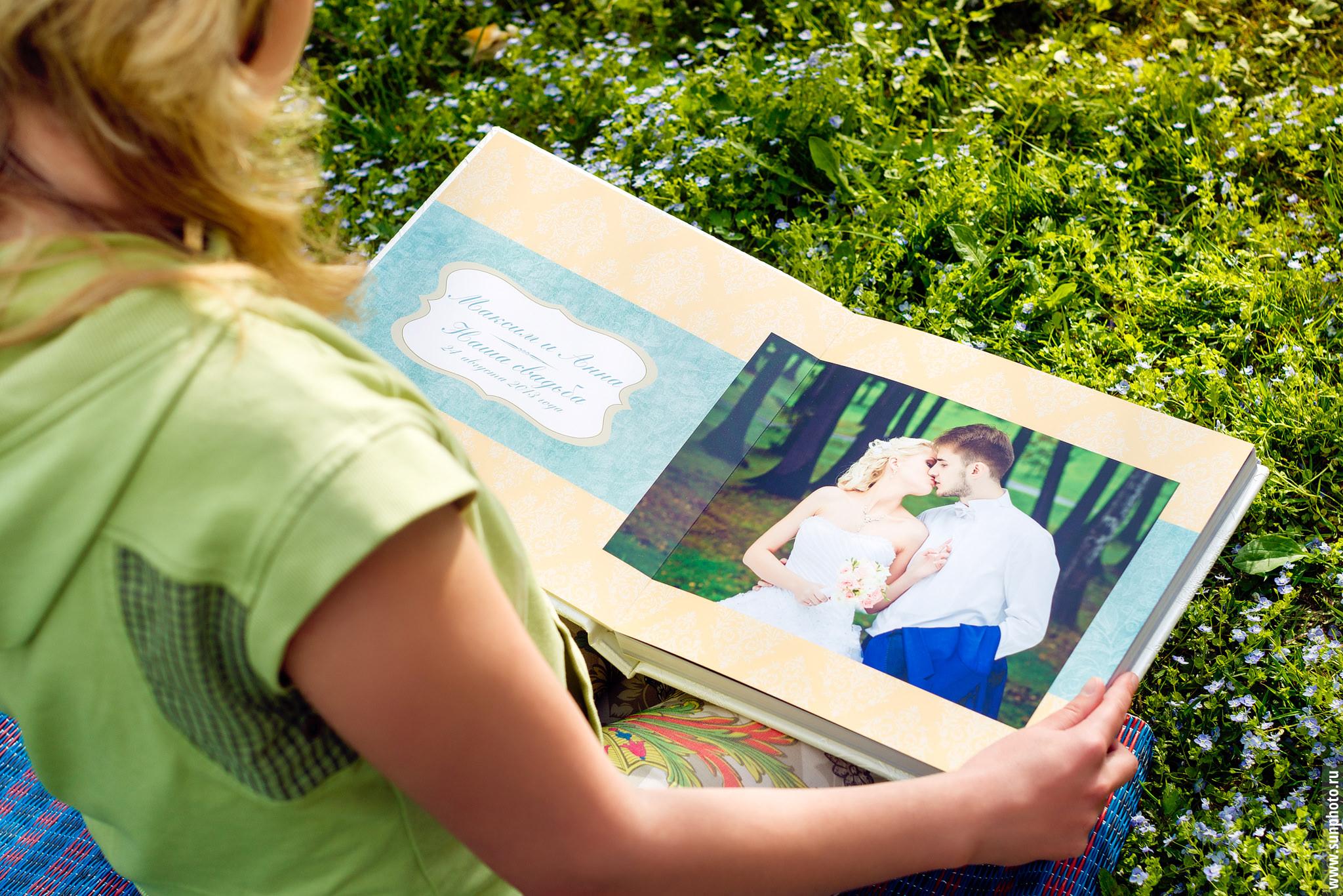 Пример классической свадебной фотокниги в обложке из искусственной кожи