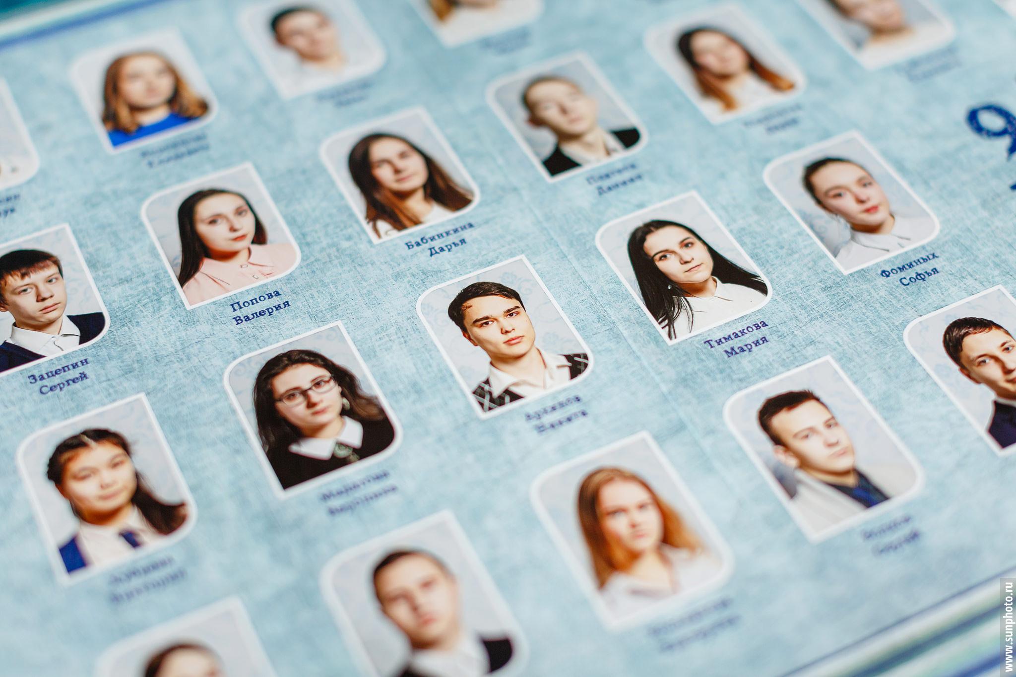 Пример разворота выпускного альбома с фотографиями и именами одноклассников